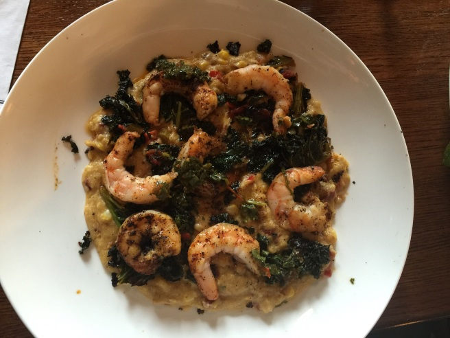 my entree: polenta, shrimp, and kale salad.